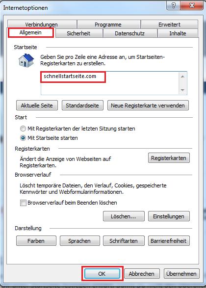 Startseite festlegen im Internet Explorer
